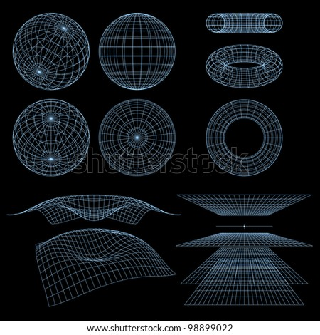 Geometry, Mathematics and Perspective Wireframe Symbols. Rasterized Version - stock photo