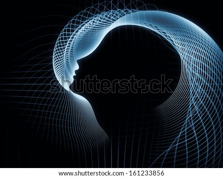 Geometry of Soul series. Backdrop design of profile lines of human head to provide supporting composition for works on education, science, technology and graphic design