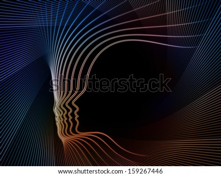 Geometry of Soul series. Backdrop of  profile lines of human head to complement your design on the subject of education, science, technology and graphic design