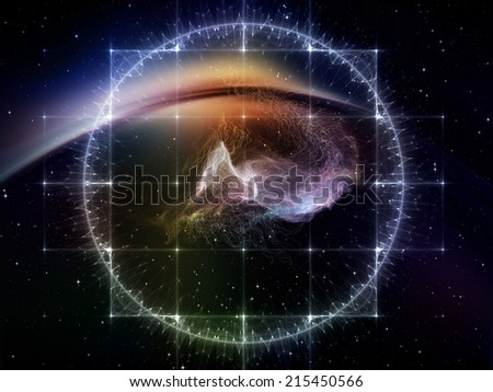 Geometry of Space series. Backdrop composed of conceptual grids, curves and fractal elements and suitable for use in the projects on physics, mathematics, technology, science and education - stock photo