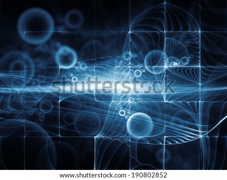 Geometry of Space series. Design composed of conceptual grids, curves and fractal elements as a metaphor on the subject of physics, mathematics, technology, science and education - stock photo