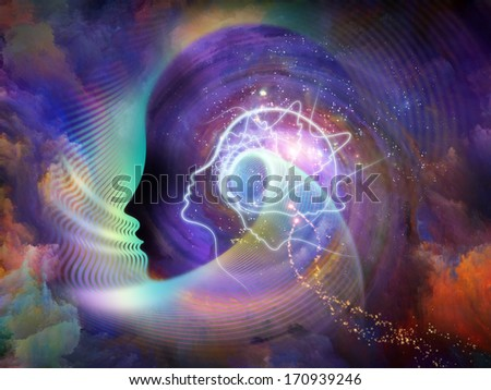 Geometry of the Soul series two. Background design of human profile and abstract elements on the subject of spirituality, science, creativity and the mind