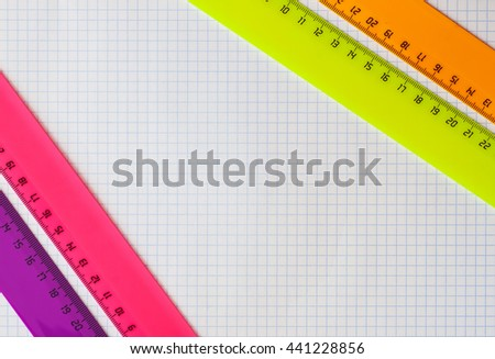 Geometry set with rulers - stock photo