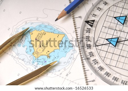 Geometry Tools On A Sea Map - stock photo