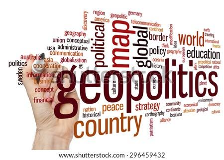 Geopolitics concept word cloud background - stock photo