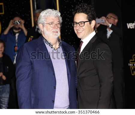George Lucas and J.J. Abrams at the World premiere of 'Star Wars: The Force Awakens' held at the TCL Chinese Theatre in Hollywood, USA on December 14, 2015. - stock photo