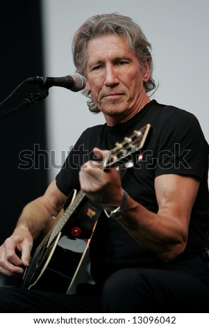 George Roger Waters, the Pink Floyd guitarist and singer, performs in Moscow on June 24, 2006. - stock photo