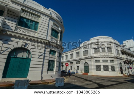 George Town, Malaysia - Mar 10, 2016. Colonial buildings in George Town, Malaysia. George Town is one of the most popular destinations in Malaysia.