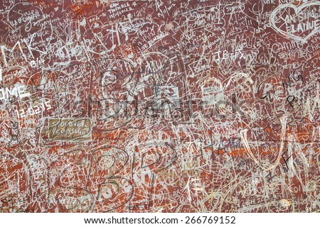 GEORGE TOWN,PENANG ,MALAYSIA- CIRCA March 26, 2015: Public street art Name Abstract text on the wall in Georgetown, Penang, Malaysia. - stock photo