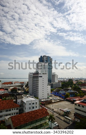 GEORGE TOWN, PENANG , MALAYSIA- November 24, 2015 : Top view of George Town City.  Penang is the Malaysia historical city center has been listed as a UNESCO World Heritage Site .