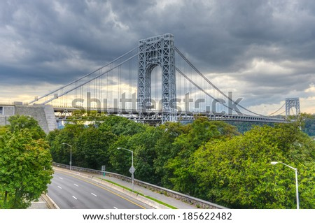 George Washington Bridge as seen from New York at a cloudy and stormy day.