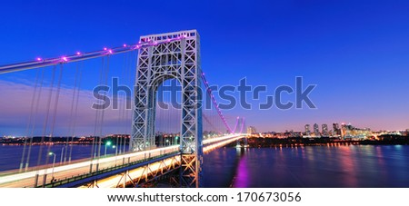 George Washington Bridge at sunset panorama over Hudson River. - stock photo