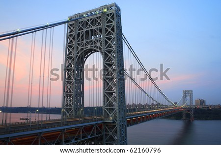 George Washington Bridge connecting New York and New Jersey viewed from Fort Lee, New Jersey.  Photographed June, 2007. - stock photo