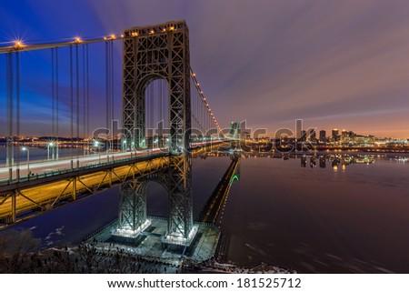 George Washington Bridge for Super Bowl XLVII. Broncos and Seahawks. - stock photo