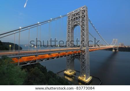 George Washington Bridge from New Jersey to New York City - stock photo