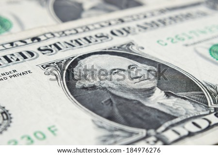 George Washington from dollar bill, closeup