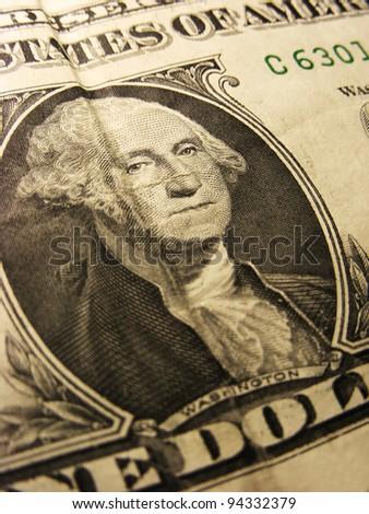 George Washington on a one dollar bil. Selective focus.l - stock photo