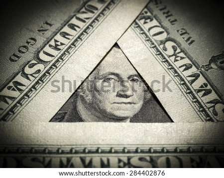 George Washington on one dollar bill - stock photo