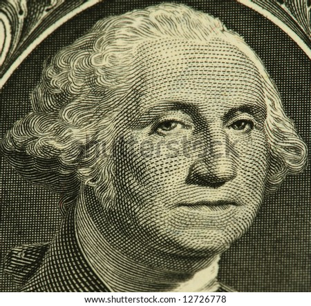 George Washington portrait from a one dollar banknote - stock photo