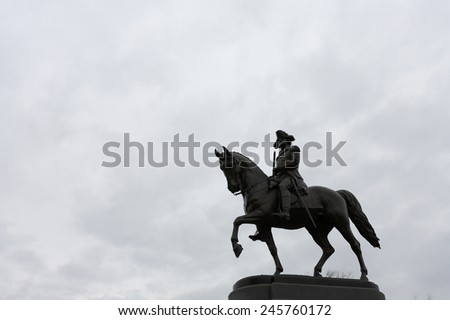 George Washington Statue at Boston Public Garden, Boston, Massachusetts, USA - stock photo