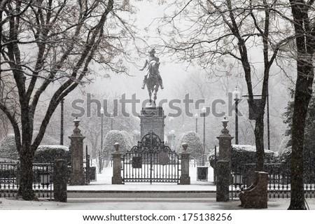 George Washington statue in snowfall, Boston  - stock photo