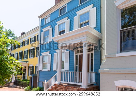 Georgetown historical district townhouses facades Washington DC in USA - stock photo