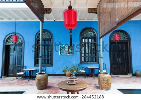 Georgetown, Malaysia  04 August, 2014: The interior of Fatt Tze Mansion or Blue Mansion, famous oriental historical building and hotel in Georgetown, Penang, Malaysia on 04 August, 2014.