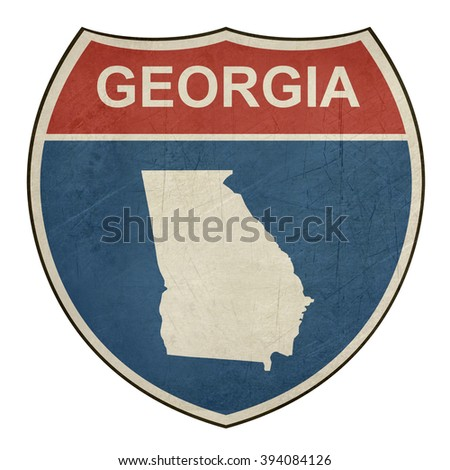 Georgia American interstate highway road shield isolated on a white background. - stock photo