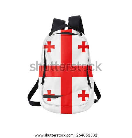 Georgia flag backpack isolated on white background. Back to school concept. Education and study abroad. Travel and tourism in Georgia - stock photo