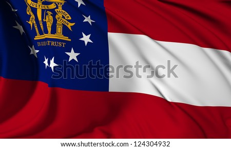 Georgia flag - USA state flags collection no_3 - stock photo
