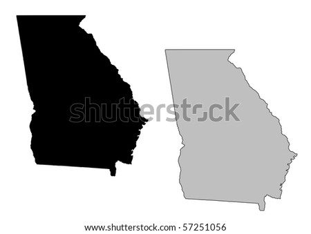 Georgia map. Black and white. Mercator projection. - stock photo