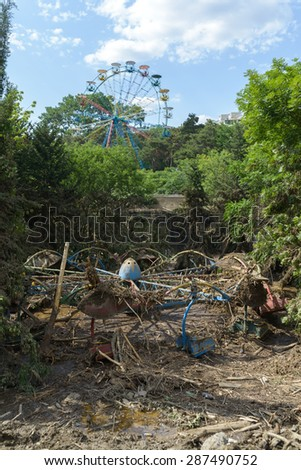 Georgia, Tbilisi, zoo. 15 june 2015: destroyed a playground at the zoo after the flood - stock photo