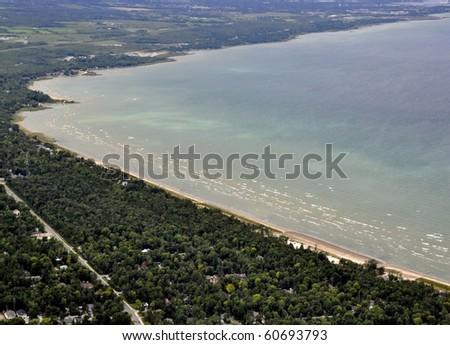 Georgian Bay scenery aerial view of Nottawasaga Bay - stock photo