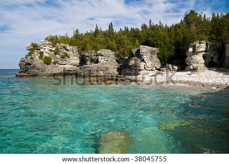 Georgian Bay shore at Bruce Peninsula Provincial Park - stock photo