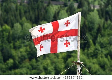 georgian flag.forest on background - stock photo
