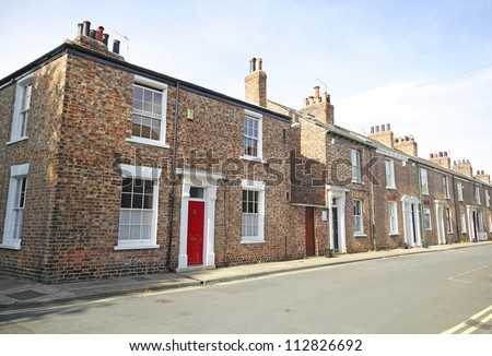 Georgian terraced street, York, UK - stock photo