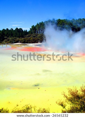 Geothermal Activity in the Artist's Palette, Waiotapu Thermal Reserve, New Zealand