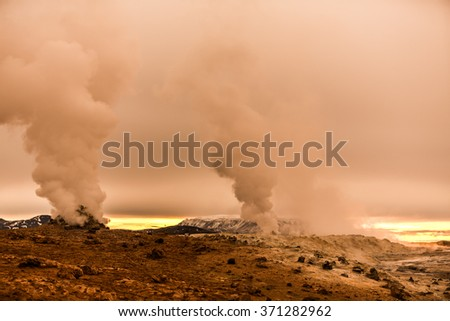 Geothermal activity in volcanic area on Mars planet surface - stock photo