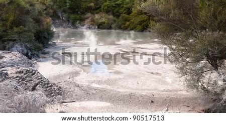 Geothermal area at Wai-O-Tapu, Rotorua, North Island, New Zealand. - stock photo