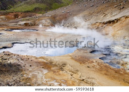 Geothermal area in Iceland. Colorful Sulphur on the ground. Beauty view