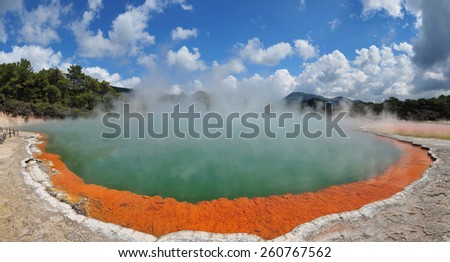 Geothermal Champagne Pool in Wai-o-tapu, New Zealand - stock photo