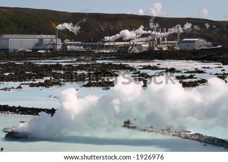 Geothermal Energy, Blue Lagoon, Iceland - stock photo