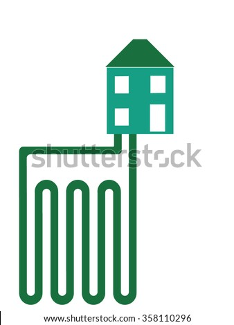 Geothermal heating. Flat design. Ground source systems. - stock photo