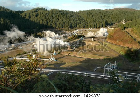 Geothermal Power Field - stock photo