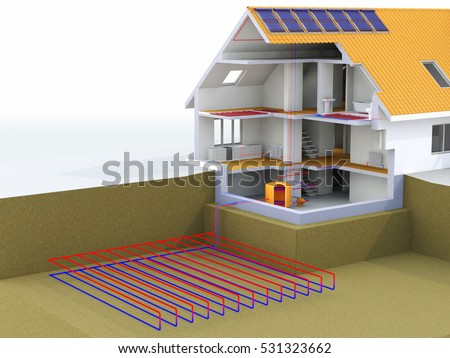 Personal air vehicle flying above solar stock illustration for Alternative heating systems for homes