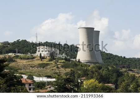 geothermal power plant - stock photo