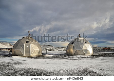 Geothermal power plant, Iceland - stock photo