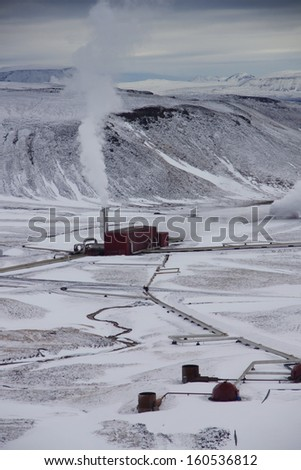 Geothermal Power Station, Iceland              - stock photo