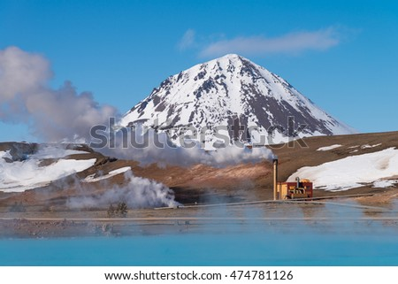 Geothermal power station near hot spring lake in Myvatn, Iceland