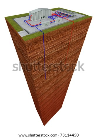 Geothermal system with cutting through the earth and deep hole, about 3 - 6 km deep